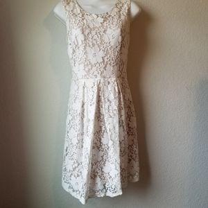 Sleeveless ivory knee length lace dress